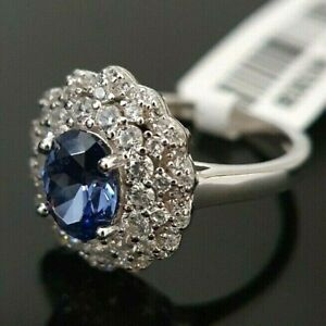 Ladies 925 Sterling Silver Tanzanite Simulated Diamond Flower Halo Ring Size M