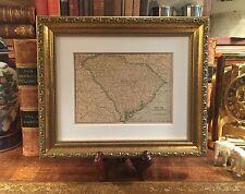 Framed Original 1908 Antique Map SOUTH CAROLINA History Genealogy 109-yrs-old