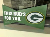 BUDWEISER BUD LIGHT ANTIQUE VINTAGE GREEN BAY PACKERS FOOTBALL LV METAL TIN SIGN