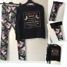 F&F Girls Xmas Unicorn Leggings & George Unicorn Slogan Top 11-12 Years