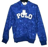 Ralph Lauren Polo Boys NWT Pullover M/M Hoodie Blue Graphic Pouch Pocket 10 -12