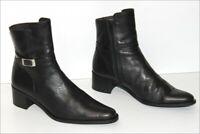 SERGIO CONTI  Bottines Boots Pointues Tout Cuir Lisse Noir  T 37 TTBE