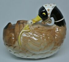 Ceramic String Holder Mother Duck and Duckling Vintage French