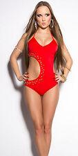 Red bling sexy monokini bikini adjustable top small medium large XLarge Scrunch