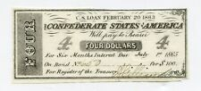 1863 Confederate States $100 Loan $4 Signed Interest Coupon # 660 Scarce Reduced