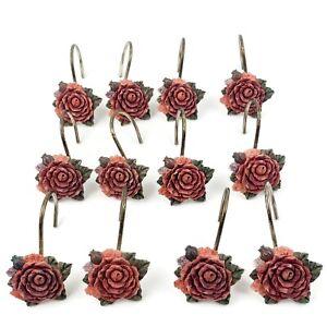 Vtg Hand Painted 12 Rose Peony Flower Shower Curtain Hooks Shabby Romantic Chic