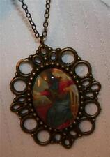 Picot Rim Brasstn Renaissance Painting Mary Queen of Heaven Cameo Medal Necklace