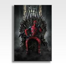 """DEADPOOL GAME OF THRONES CANVAS Marvel DC Wall Art Poster 30""""x20"""" CANVAS"""