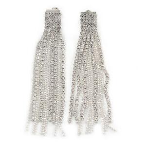 Statement Clear Crystal Tassel Drop/ Chandelier Earrings In Silver Tone - 80mm L