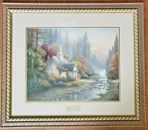 """Thomas Kinkade """"THE FOREST CHAPEL"""" Print Library Edition (Frame Size 30"""" x 27"""")"""