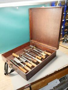 Lot of 13 Old Vintage Woodworking chisels in portable carpenter tool case