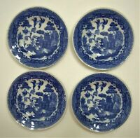 """Vintage Blue Willow Child's 3 3/8"""" Dinner Plates Toy Dishes Set Of 4"""