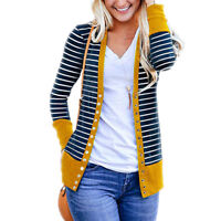 Women's Button Down Knitwear Long Sleeve Basic Knitting Stripe Cardigan Sweater
