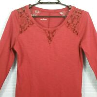 Maurices Womens Medium Burgundy Long Sleeve Pullover Scoop Neck Lace Top