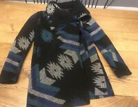 Thread & Supply- Blue/Black Blanket Jacket/Coat Medium Southwest Aztec FREE SHIP