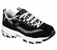 Black White Dlites Skechers Shoes Women Sporty Casual 11978 BKW Memory Foam Soft