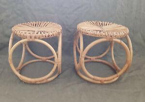 2 Hocker Rattan Bambus 50er Jahre Bonacina Italy stool wicker bamboo 50s