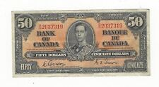 **1937**Canadian $50 Dollar Note BC-26b,  Gor/Tow SN# B/H 2037319