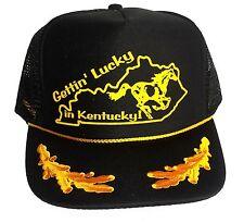Black Gettin' Lucky in Kentucky Captain Gold Leaf Snapback Mesh Trucker Hat Cap
