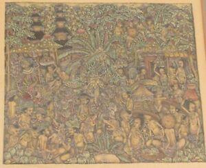 "Vintage Bali detailed ornate painting dragons signed IW Brata 11x12"" framed"