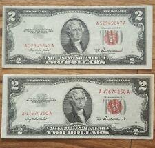 (2) 1953 A 2 dollar bill United States Note Crisp