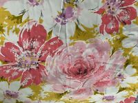 VINTAGE PINK ROSE FLOWER POWER CURTAIN PANEL RUBBERIZED BACKING CUT UP ONE PANEL