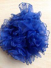 marine bleu mousseline à volants froufrou BANDE DE QUEUE CHEVAL / Pompon cheveux