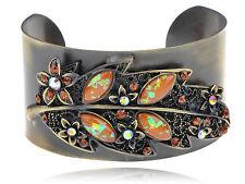 Vintage Retro Bronze Leaf Cuff Topaz Crystal Rhinestone Cuff Bangle Bracelet