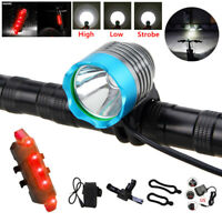 Waterproof T6 LED MTB Bike Front Rear Lamp Night Riding Head Torch Lamp +18650