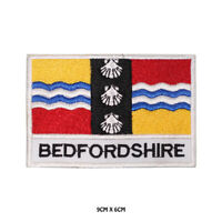 BEDFORDSHIRE County Flag With Name Embroidered Patch Iron on Sew On Badge