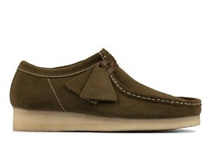 NEW MENS CLARKS ORIGINALS WALLABEE LIMITED EDITION KHAKI GREEN SUEDE LOW SHOES