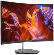 "Curved LED Gaming Monitor Full HD 1080P HDMI VGA 75Hz  Inbuilt Speakers 24"" PC"