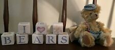 I Love Bears Wooden Handcrafted Blocks and Mohair Boy Bear
