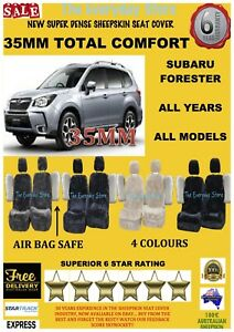 Super Dense Sheepskin Car Seat Covers For Subaru Forester Pair Airbag Safe 35MM