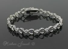 Perfect Love Heart Simulated Diamond Sterling Silver Sf Wedding Lovers Bracelet