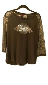 Victory Motorcycle  Women's Black 3/4 Sleeve Shirt, XL , Biker Lace