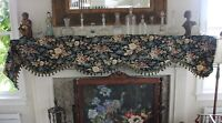 """French Antique c1870 Cotton Valance~White Roses On Black Ground~L-106""""X W-18"""""""