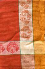 Dog Kitchen Towel | Cotton Waffle Weave | Orange Gold Brown | Pictorial