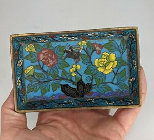 Chinese Antique Cloisonne Bird & Peony Dish c19th - Fine Quality Qing