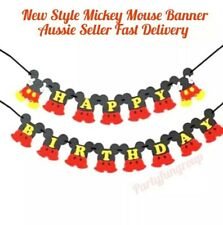 Mickey Mouse Happy Birthday Bunting Banner Premium Non-Woven Material AU Stock