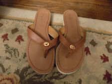 cf4597bed5d Coach shelly semi matte Leather brown flip flop sandal thong women s shoes  ...