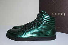 GUCCI 11 / 10 UK Green Mirrored Perforate leather lace up Hi Top sneakers Shoes