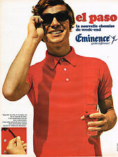 PUBLICITE ADVERTISING 045  1969   EMINENCE  la chemise-polo EL PASO