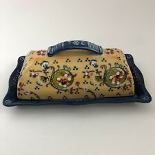 Anthropologie Lyna Ceramic covered 1/4 lb. butter dish hand painted floral blue