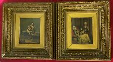 Antico 19th Secolo's olio su metallo. ragazza e il suo cane e una Lady seduti con Ventola