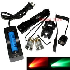 UltraFire 501B CREE Red/Green light Bulb LED 1Mode 18650 Tactical Flashlight Set