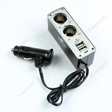 Dual Socket 2 Way USB Port Cigarette Lighter Splitter DC 12V Car Charger