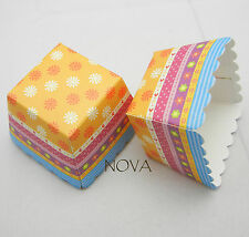 vintage daisy yellow square muffin cases baking cup cupcake 20pcs 4.5x4.5x4.5cm