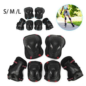 6x Elbow Wrist Knee Pads Sport Safety Protective Gear Guard for Kids Adult Skate