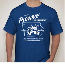 Blue PLOWBOY EQUIPMENT T Shirt Tractor Farm Parts for Ford New Holland Large LG